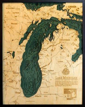 """Lake Michigan 3-D Nautical Wood Chart, Large, 24.5"""" x 31"""" NLM-D2L"""